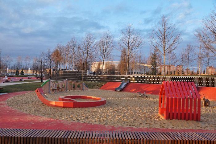 Modern Architecture Stadium Park Playground Red Sunset Cityscape Colour Your Horizn