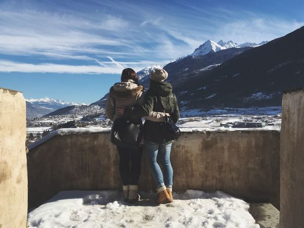 Friends will be friends Mountain Two People Snow Winter Beauty In Nature Mountain Range Nature Lifestyles Scenics Sky Day Friends Friendship Outdoors Panorama Aosta Aostavalley Mountains First Eyeem Photo