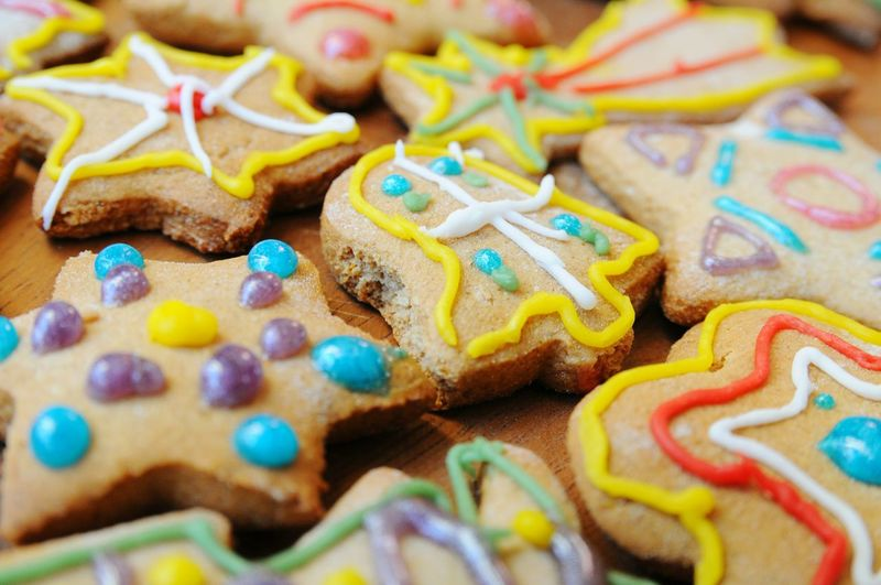 Full frame shot of gingerbread cookies during christmas