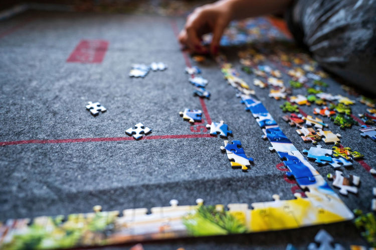 Close-up of person playing on street