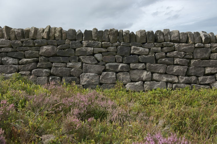 View of stone wall on field against sky