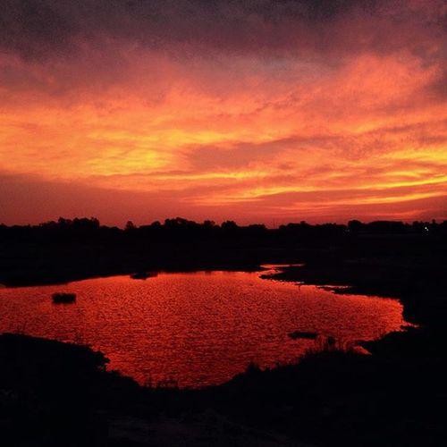 Sunset Reflection Orange Lake Evening Walk Peace IPhone Instaphotography Namma_karnataka Nammakarnatakamemes Tagsforlike VSCO Vscocam Instapic Travel Vamp Ssunshot
