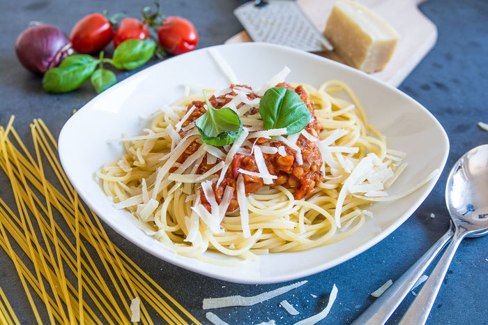 Basil Food Food And Drink Healthy Eating Italian Food Noodles Parmesan Cheese Pasta Ready-to-eat Spaghetti Spaghetti Bolognese Table Tomato