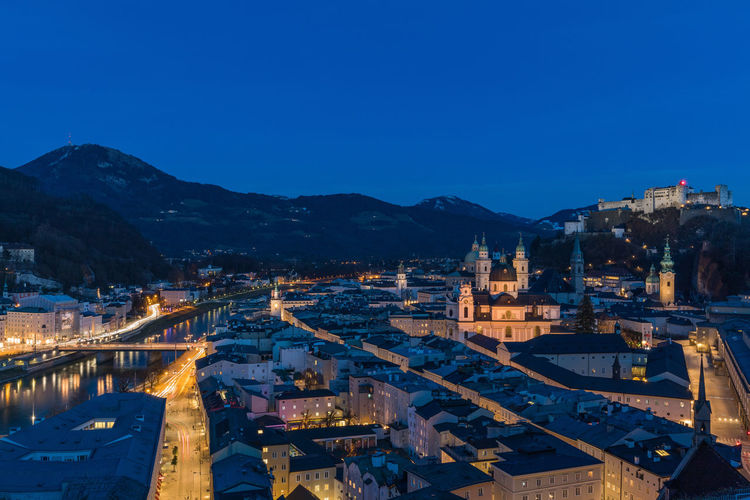 High angle view of salzburg at night