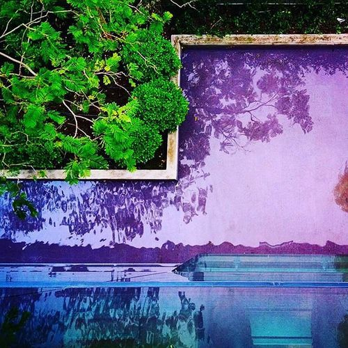 View from Above . Fromabove Second Floor Office Lagoon Fountain Architecture Garden Color Colorful Water Pool Greenspot Square Picture Photo Violet Glass Instamoment Instalike Instacool Vivid