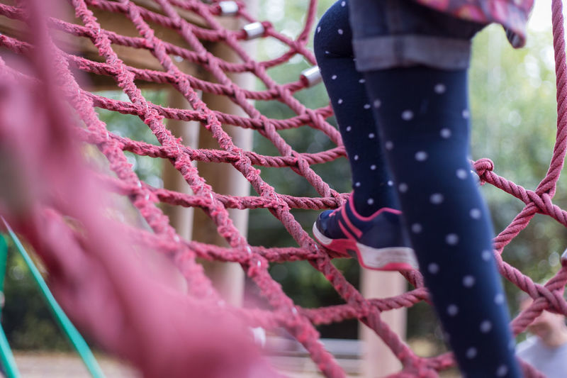 Pink Rope Apparatus Child Climbing Climbing Frame Close-up Equipment Frame Low Section One Person Outdoors Pattern Pink Color Play Equipment Playground Real People Strength Strong Perspectives On People Be. Ready.