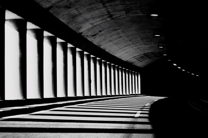 On the road Tunnel Road Shadow Shadows & Lights Highway Driving Roadtrip Motion Traveling Blackandwhite Black & White Black And White Photography Fine Art Photography On The Way Showcase July
