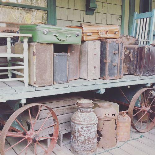 Vintage Travelers No People Train Ride Soft Colors  Pastels Baggage Claim Baggage Luggage Vintage Style Vintage Suitcases