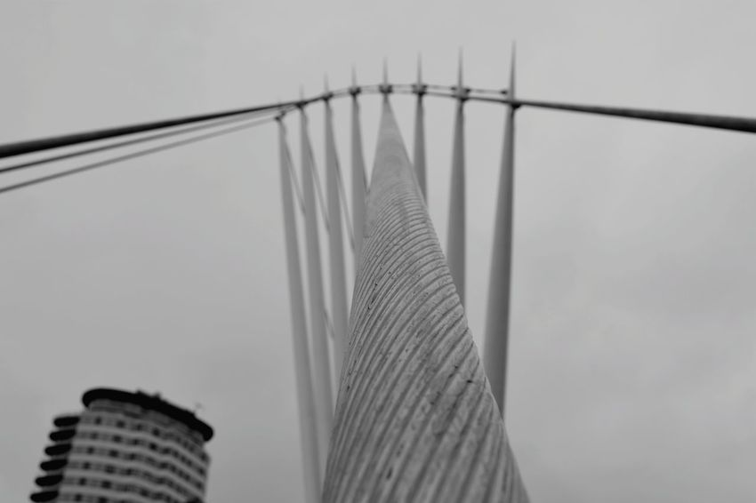 Bridge Outdoors Blackandwhite No People Low Angle View Built Structure Famous Place Salford Quays No People, Allmyphotography Steel Cable Strengh Rigid