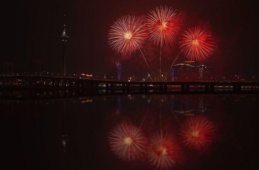 好心情(1) Illuminated Firework Night Firework Display Architecture Exploding Built Structure