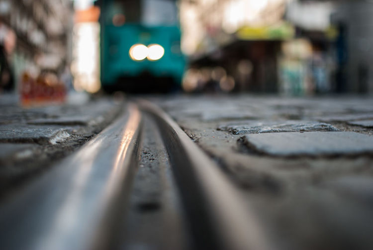 Surface level of tramway on street
