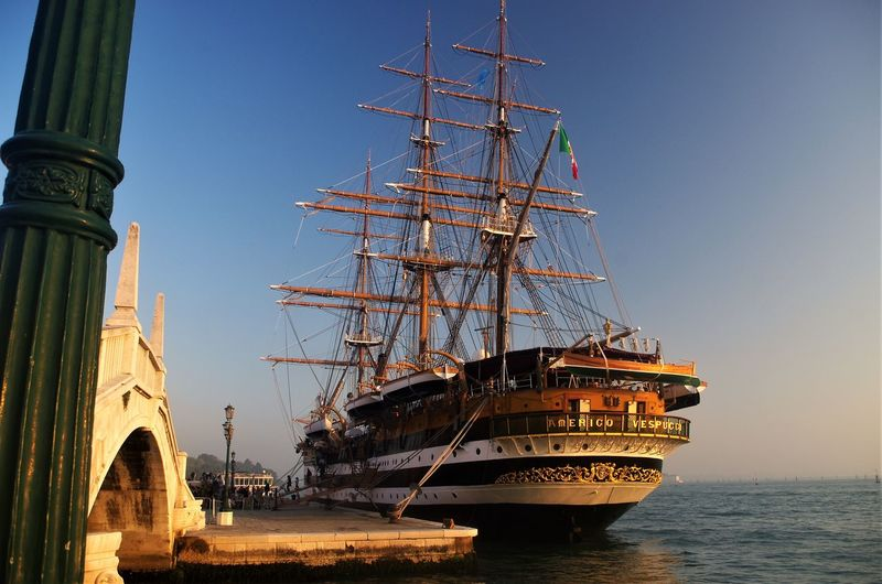 Amerigo Vespucci ship ....... Connected By Travel Marina Militare Italiana Old Ship Bridge Clear Sky Nautical Vessel Outdoors Sailing Ship Sea Sky Tall Ship