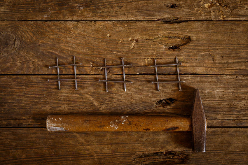 Antique Brown Brown Background Carpentry Choice Close-up Directly Above Group Of Objects Hammer Indoors  Medium Group Of Objects No People Old Plank Studio Shot Textured  Variation Wood Wood - Material Wood Grain