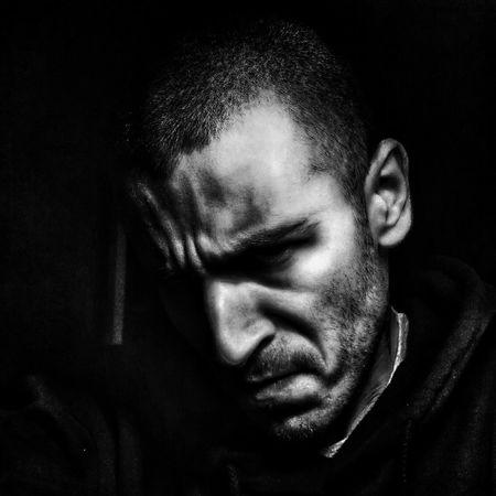 Black And White Self Portrait Dark