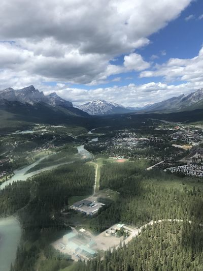 Aerial View Of Landscape Against Cloudy Sky At Canmore