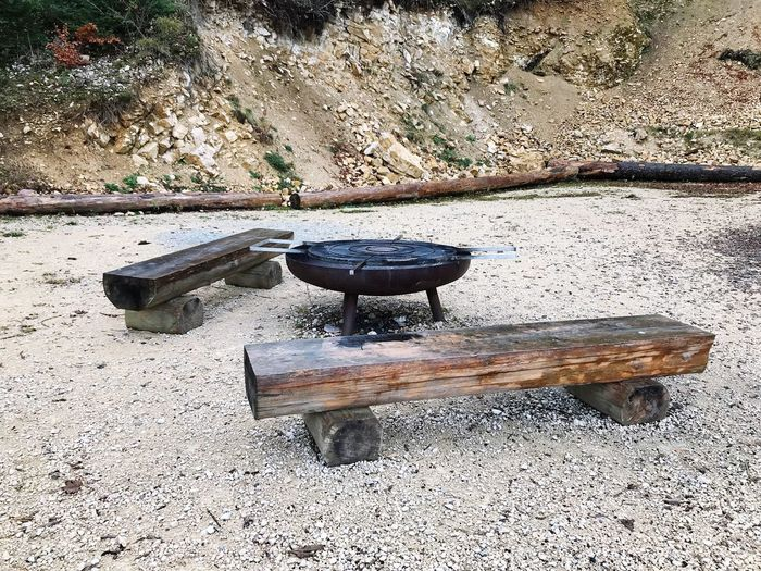 BBQ Day Sunlight Nature No People Land High Angle View Sand Outdoors Stone - Object Metal