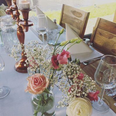 wedding Interior Design Decoration Flower Table Flowering Plant Plant Indoors  High Angle View Decoration Candle Arrangement Celebration Food And Drink Drinking Glass Tablecloth
