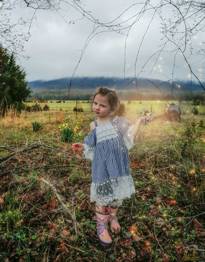Cloudy Daffodil Flower Rainy Days Child Childhood Girls Standing Meadow Grass Casual Clothing In Bloom Growing Petal