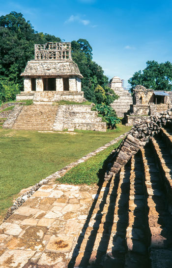 Mayan ruins in Palenque, Chiapas, Mexico. Palace and observatory. Ancient Architecture Chiapas City Mayan Ruins Mexico Pyramid Ruins Travel UNESCO World Heritage Site America Ancient Civilization Forest Heritage Jungle Palenque Stone Temple Tourism Travel Destinations