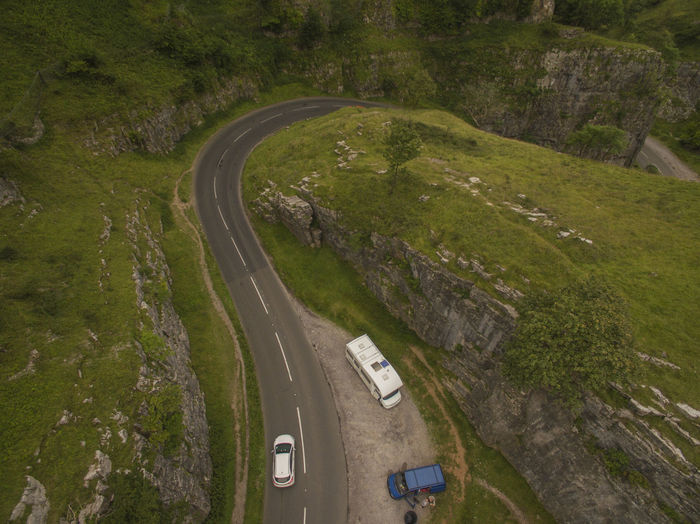 High angle view of road at cheddar gorge