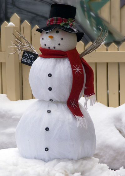 happy snowman ! Hat Art And Craft Celebration Christmas Close-up Cold Temperature Creativity Decoration Happy Snowman Holiday Holiday - Event Human Representation Male Likeness No People Representation Snow Snowman White Color Winter