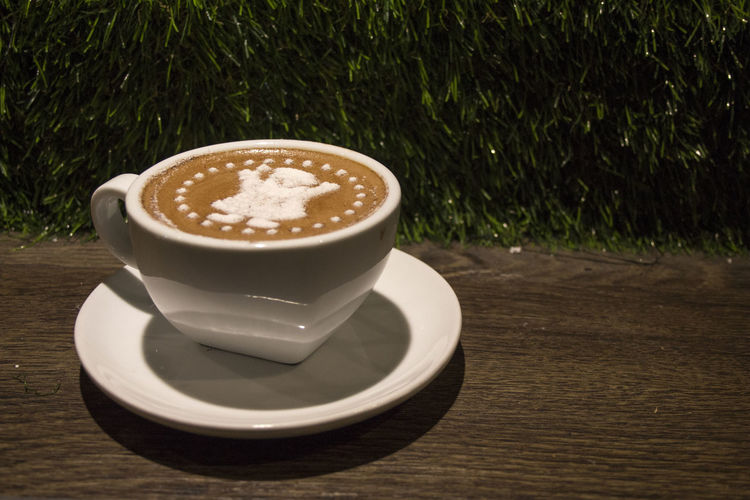 Coffee with copy space dark background Copy Space Cappuccino Close-up Coffee - Drink Coffee Cup Day Drink Food Food And Drink Freshness Froth Art Frothy Drink Indoors  Latte No People Refreshment Saucer Space For Text Table Thick
