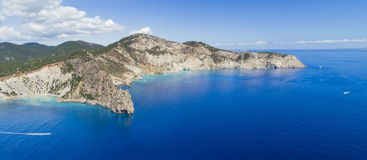 Drone  Hills Ibiza Nature Panorama Panoramic SPAIN Aerial View Aero Blue Sky Blue Water Boat Boats Cliff Landscape Mountain Sea Summer Travel Destinations Vacation Water