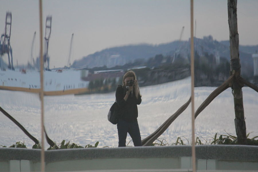 Art is Everywhere Exploring Reflection Rio De Janeiro Taking Pictures Adult Adventures In The City Clothing Full Length Leisure Activity Lifestyles Mountain Mountain Range Nature One Person Outdoors Photographer Railing Real People Self Portrait Snow Standing Technology Women