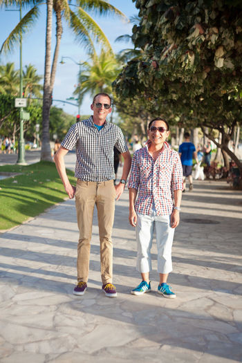 Street Fashion Lgbt Checkered Interracial Multicultural Gay Men Gay Couple Preppy City City Life Fashion Honolulu, Hawaii Individuality Portraits Sidewalk Sunny Accessories Alohastate Apparel Beachwear Clothing Ethnic Honolulu  Islandstyle Multi Cultural Portrait Shoes Street Fashion Streetphotography Style Urban