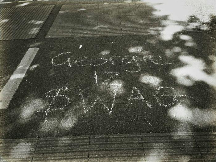 Swag Street Art Pavement Writing In The Pavement Chalk Art Public Warning