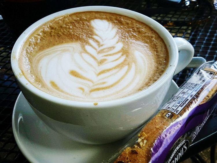 """""""Hot Coffee"""" Hotcoffee Drink Coffee - Drink Coffee Cup Refreshment Frothy Drink Froth Art Food And Drink Close-up No People Mocha Day Coffee Biscotti Visual Feast"""