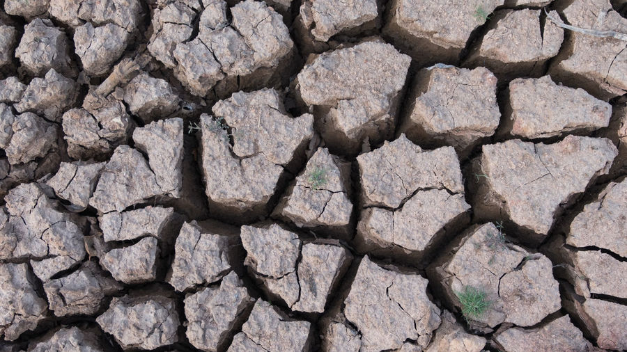 Full frame shot of drought surface during sunny day