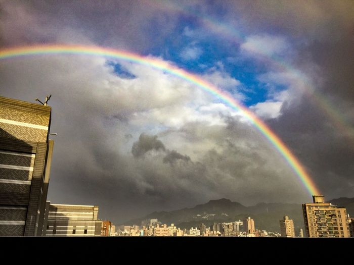 How lucky am I to see this awesome rainbow view by accident. Rainbow Sky Scenics Beauty In Nature Double Rainbow Cityscape Multi Colored Nature Scenery Photography Scenery Pictures