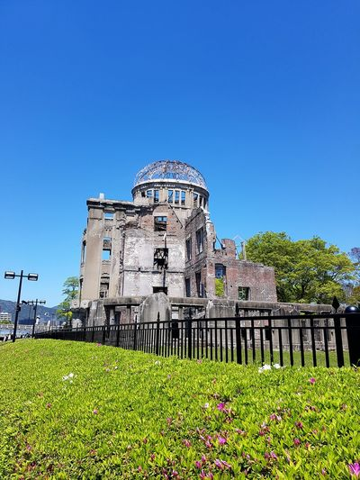 History War Live Goes On Atomic Bomb Dome Remember Japan Photography A Bomb Still Standing And Strong Still Standing Part Of A Building Clear Sky Blue Sky Grass Green Color