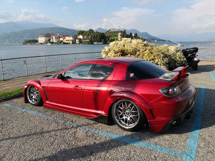 Italy Mazda Mazda RX8 Wankelrotaryengine Red Red Color Tuning Tuning Cars Isola Bella, Lago Maggiore , Italy Isola Bella Alloy Wheels Stresa Red Car Sky Parking Vintage Car Parking Lot Coast Beach