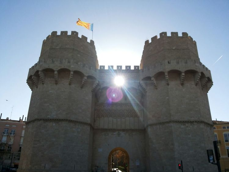 Valencia, Spain Torres De Serrano Old Architecture Fortification Old Tower Old Stones Valencian Flag Historical Building Purist In Photography Street Photography Sun Rays The City Light