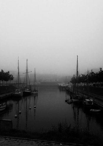 Moin aus dem gerade noch herrlich nebligen Kiel ⛵ Hanging Out Black & White Going Sailing Streamzoofamily Eyem Best Shots Beautiful Harbour Sailing Autumn Collection Kieler Förde