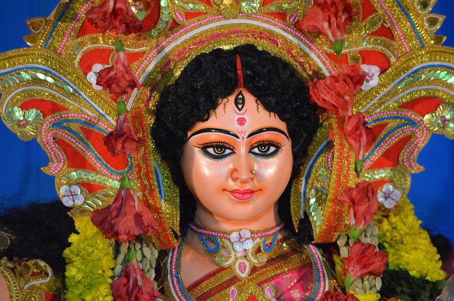 Durga Durgapuja Dusshera Front View Hinduism Ornate Religion Smiling