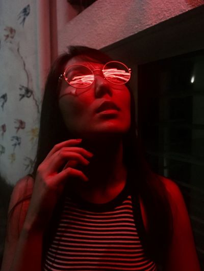Welcoming 2018 Low Light Neon Lights Real People One Person Front View Young Women Lifestyles Young Adult EyeEm Ready   Red Close-up EyeEm Ready