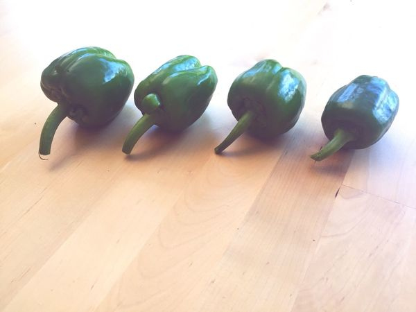Bell Pepper Peppers Four Peppers Green Peppers Organic Peppers Homegrown Homegrown Veg Organic Veg Nutricious Freshness Food And Drink Still Life In A Row Green Color Arrangement Big To Small Side By Side Healthy Living Health Aware Nutritional Value