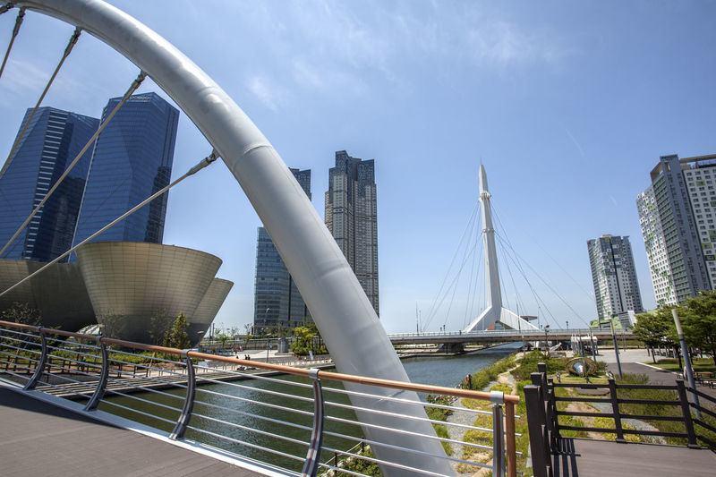 Bridges Over River By Buildings In City Against Sky
