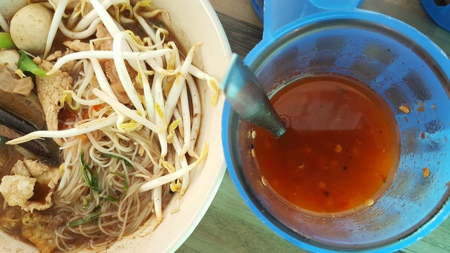 Thai noodles Noodles Time Noodles Lover Noodlesandsauce Noodles In Huahin Thailand Thaifood Huahin Thailand Huahin Thai Noodles Byssnote5 Mixing Drink Drinking Glass Directly Above Table Bowl High Angle View Close-up