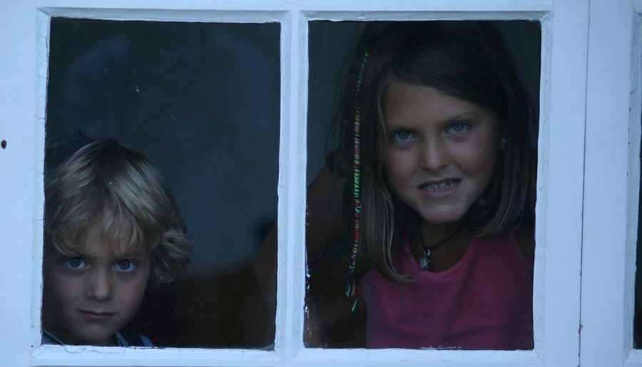 Child Childhood Children Only Close-up Girls Looking At Camera Portrait Two People Window