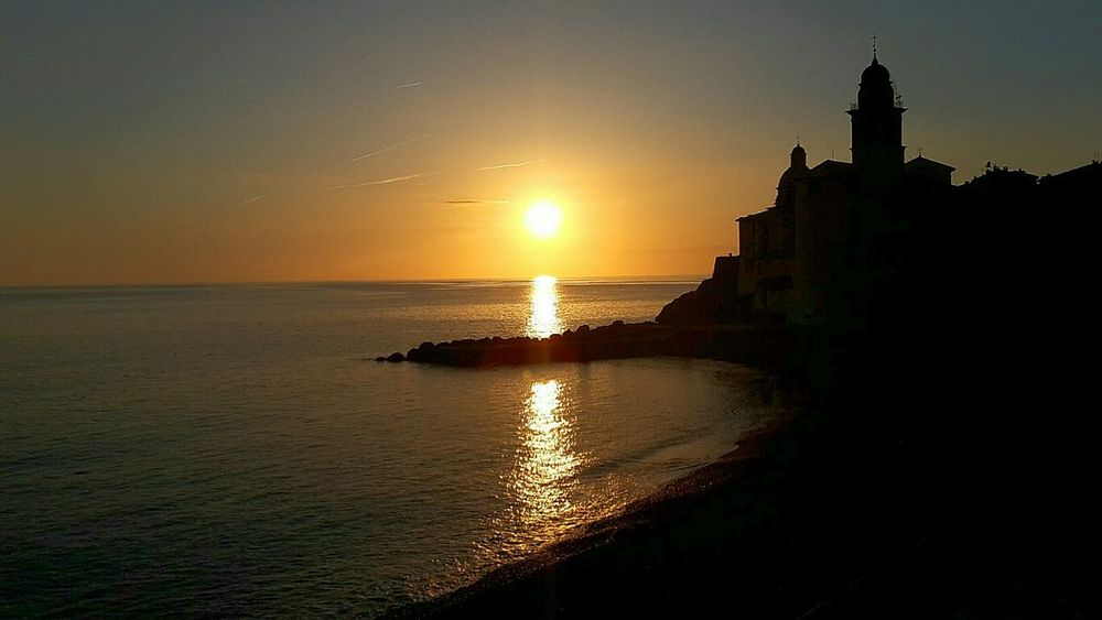 Sunset Reflection Travel Destinations Travel Sea Architecture Scenics City Horizon Over Water Water Sky Outdoors No People EyeEm Gallery Liguria Sea And Sky Day Camogli Italia Camogli Beauty In Nature Landscape Beach Sand Silhouette Reflection