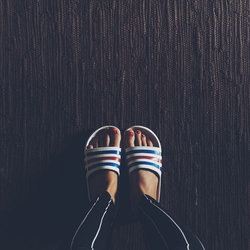 Directly above shot of woman wearing slippers