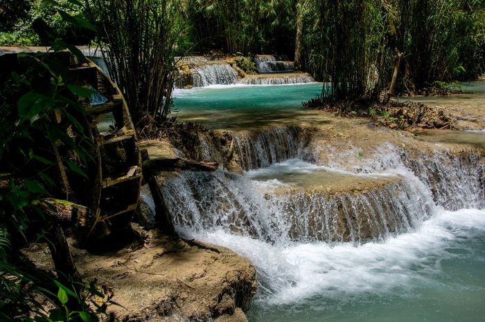 Kuang Si Waterfall 1 Beauty In Nature Flowing Flowing Water Forest Kuang Si Waterfalls Kuang Xi Waterfall Kuangsifalls Laos Luang Prabang, Laos Luangprabang Nature No People Non-urban Scene Outdoors Tranquil Scene Tranquility Water Waterfall Waterfalls