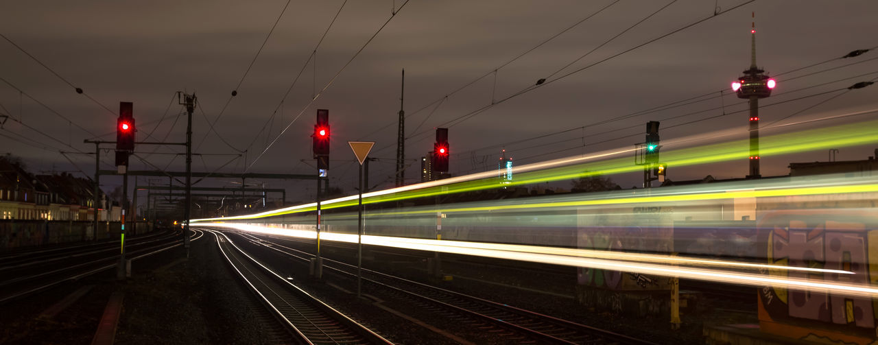 Light trail on railroad track at night