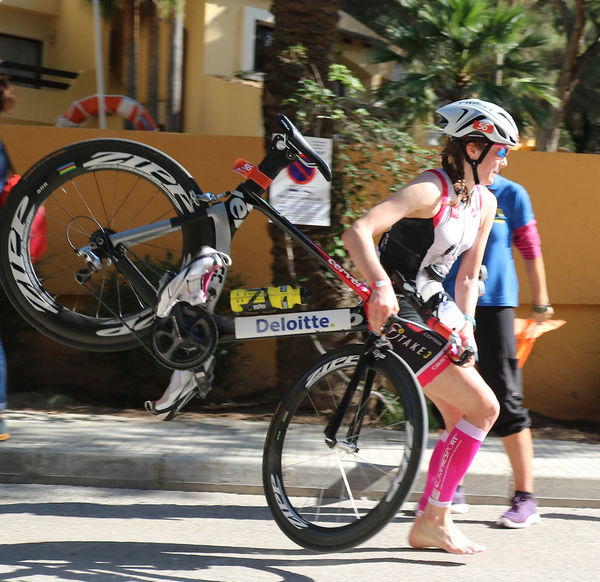 Adult Athlete Bicycle Brake Challenge-Mallorca Cycle Cycling Day Majorca Mallorca One Person One Woman Only Outdoors Pedal Peguera People Triathlete TRIATHLON Unusual