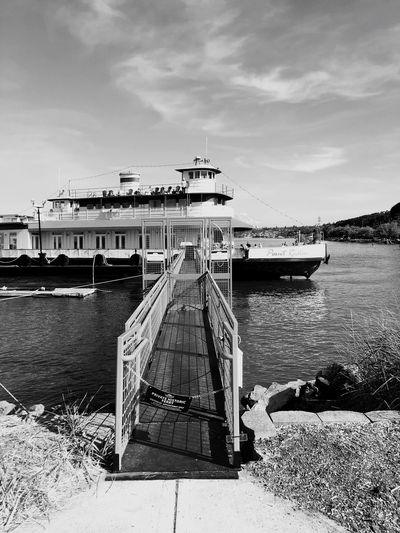Blackandwhite Ferry Water Sky Transportation Nautical Vessel Mode Of Transportation Cloud - Sky Nature