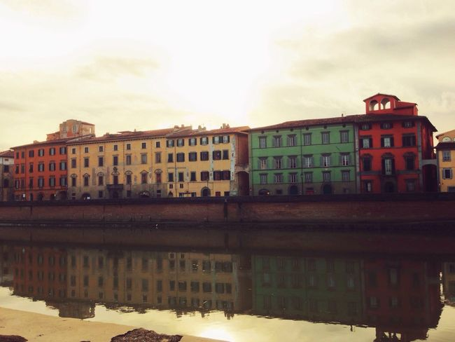 Pisa Lungarno Colors Arno  Clouds And Sky